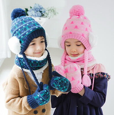 Baby Kids Child Boy Girl Winter Beanie Hat Gloves Scarf Set Caps Chrismas Gift