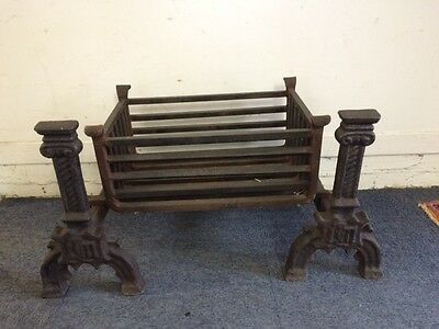 Antique Style Cast Iron Substancual Fire dogs and basket