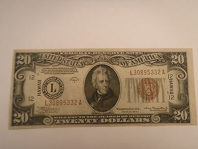 1934 A Hawaii $20.00 Very Rare In Excellent condition
