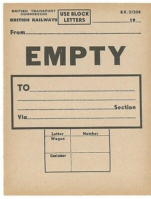 BR 21208 EMPTY WAGON LABEL - 1950'S  #4 of 4
