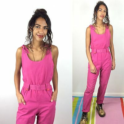 Bright Pink Dungarees Vtg Jumpsuit 80s One Piece Playsuit Onesie Small 8 10