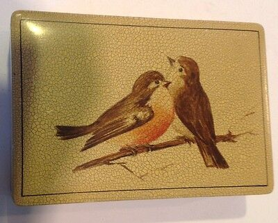 "Vintage Italy Robin Bird Hinged Wooden Box 6.25"" X 4.25"" Jewelry"