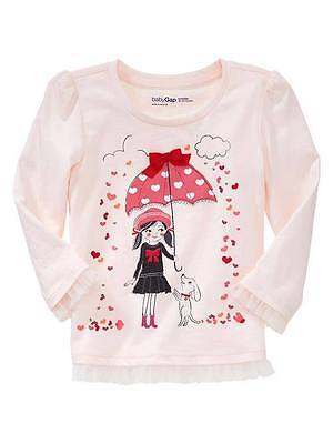 Baby Gap Girl's Valentine's Line Pink Embelished Tulle Rainy Day Graphic Tee 2T