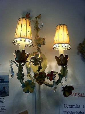 Pair French/Italian Metal Tole Flower Shabby Chic Wall Sconces Silk Shades Cryst