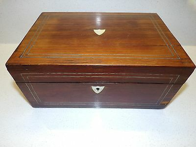 ANTIQUE MOTHER OF PEARL INLAY INLAID wood SEWING BOX  w/ ITEMS 119