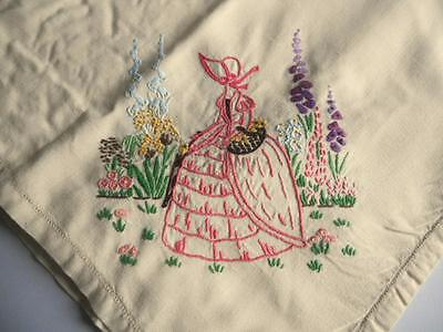 Vintage Hand Embroidered Tablecloth - Crinoline Ladies, English Country Garden