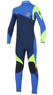 RIP CURL Youth 4/3 FLASH BOMB Zip Free Wetsuit - BLUE - Size 16 juniors FBOMB