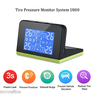 Auto Wireless TPMS Car Tire Pressure Monitor System Solar/USB Charger +4 Sensors
