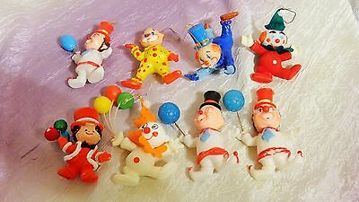 Vintage Flocked Plastic Christmas CLOWNS Ornaments