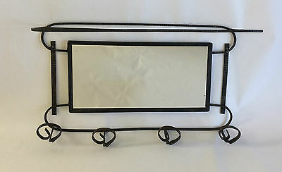 Vintage French Art Deco Metal Coat Hat Hook Rack Shelf Mirror Edgar Brandt Style
