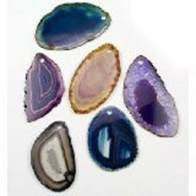 Thin Sliced Agate Pendants with Drilled Hole Set of 6 Assorted Colors