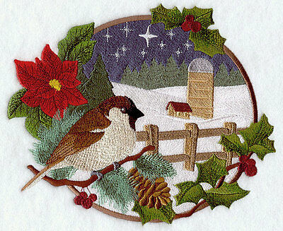 Embroidered country christmas sparrow quilt block,fabric,cushion panel,snowman