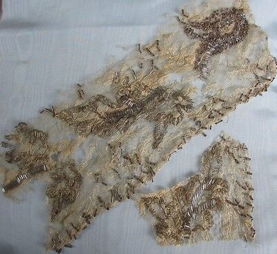 Antique French Silk Lace Fragment Metallic Gold Embroider Glass Bugle Bead Trim2