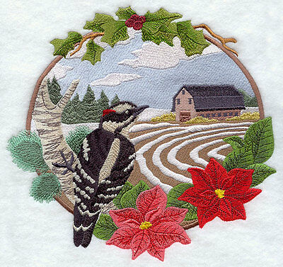 Embroidered country christmas woodpeckerquilt block,fabric,cushion panel,snowman