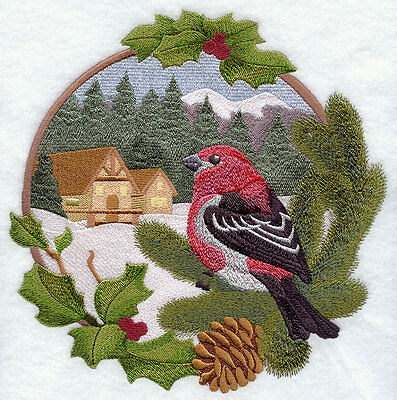 Embroidered country christmas pine grosbeak quilt block, fabric,cushion panel