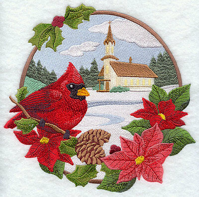 Embroidered country christmas cardinal quilt block, fabric,cushion panel,quilt