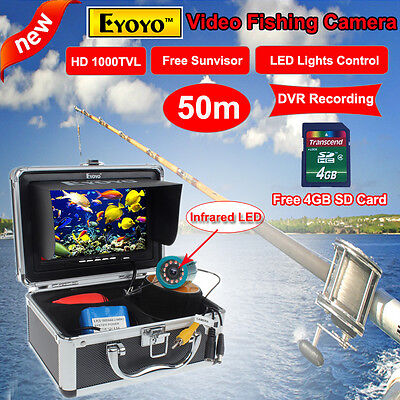 "50M 7"" Monitor Infrared Fish Finder Underwater Video Camera DVR w/Lights Control"