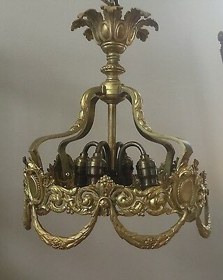 Antique French Empire Gilt Bronze Crystal Wedding Cake Chandelier Parts Repair