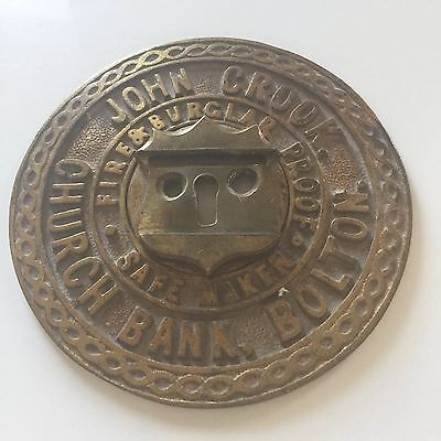 Rare Victorian Advertising Brass Bank Safe Cover Church Bank Bolton John Crook