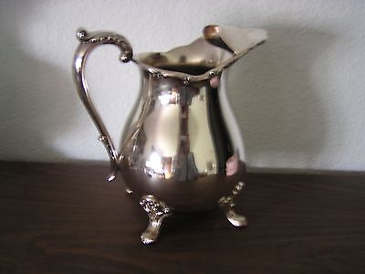 """VTG Silverplate 8.5""""H Water Pitcher EPCA BRISTOL POOLE W/Feet &Ice Guard ExCond"""