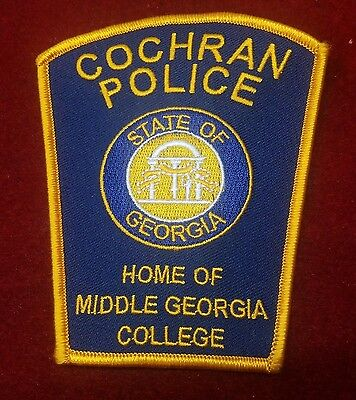 """Cochran Police State of Georgia Home of Middle College 4.5"""" Police Patch (Bt1)"""