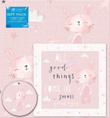 Baby Girl Christening 2 x Gift Wrap, Tag & Card - Wrapping Paper Present