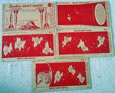 Sunshine Cereal Trip to the Moon Space party game-complete uncut-1950's