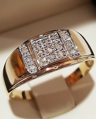 9ct / 9K Solid Gold men's ring with 15 natural brilliant-cut diamonds