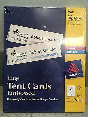 "Avery Large Embossed Tent Cards 5309, 3-1/2"" x 11"", White, Uncoated, Box of 50"