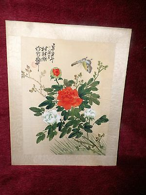 Vintage Hand Painted Butterflies & Wild Flowers , Chinese Signed Picture On Silk