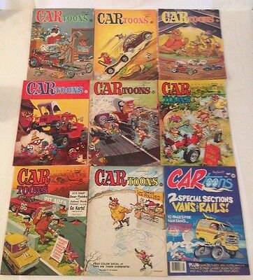 Lot Of 9 Issues Car Toons VTG Comic Books Racing 60's-70's