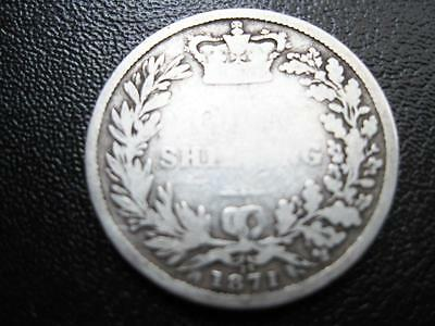Coins  Victoria  Y H Shilling Dated 1871 (Die 13) In Near Fine