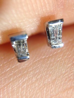 Unique 14K White Gold Tapered Baguette Natural Diamond Earring Studs