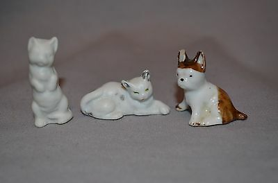 Lot of 3 Miniature Dog and Cat Figurines VINTAGE Marked Germany (00220)