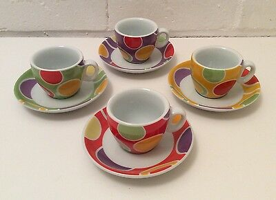 Set Of 4 Espresso Cups And Saucers, Multicoloured, Boxed, New