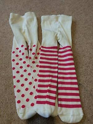 2 X Pairs Of Girls Pink Tights From John Lewis, Size 0-6 Months