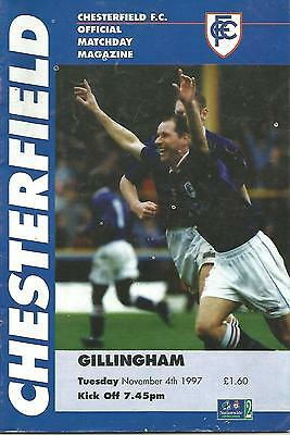 Football Programme - Chesterfield v Gillingham - Div 2 - 1997