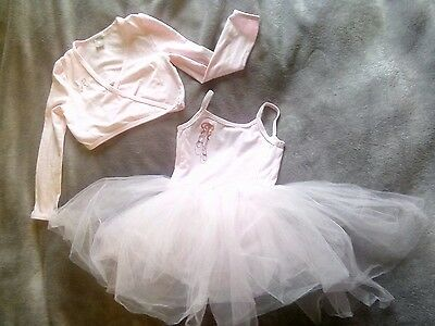Girls ballerina tutu  dress and long sleeve cross over top. Pink. Age 4 years.