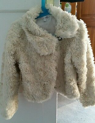 M & S Girls fur coat jacket age 6-7