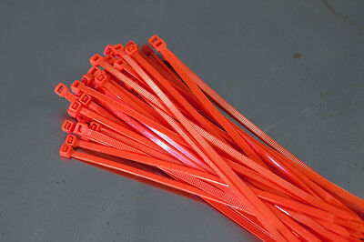 100 Cable Ties 200mm x 4.8mm - Orange - Zip Tie Cable / Wire Tidy