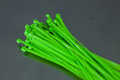 100 Cable Ties 200mm x 4.8mm - Fluorescent Green - Zip Tie Cable / Wire Tidy
