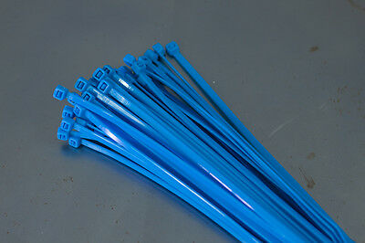 100 Cable Ties 200mm x 4.8mm - Blue - Zip Tie Cable / Wire Tidy
