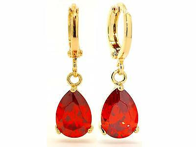 Yellow Gold Earrings With Red Ruby Gemstones 18CT REC6D