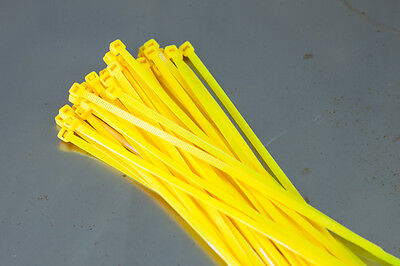 100 Cable Ties 200mm x 4.8mm - Fluorescent Yellow- Zip Tie Cable / Wire Tidy