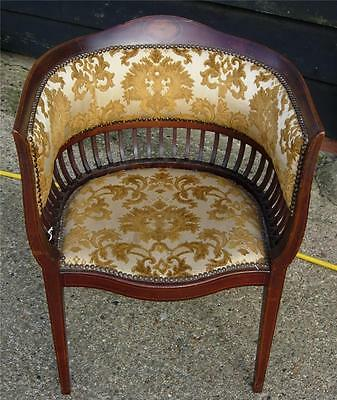 Edwardian Inlaid Upholstered Tub chair