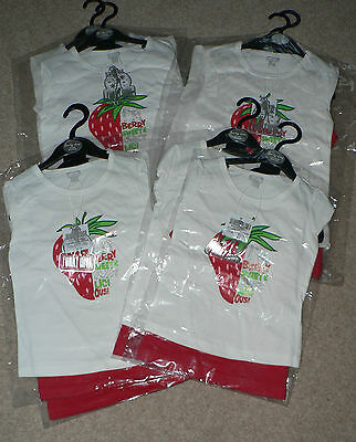 JOB LOT 8 X 2PK FUNKY DIVA STRAWBERRY PRINT T SHIRT & RED VEST PACK 18-24m  6-7Y