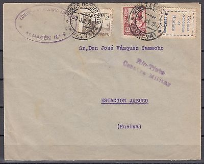 ESPAÑA Guerra Civil 1937 Carta Censura Militar RIO TINTO Sello Local