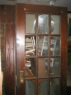 Antique Vintage French Glass Double Doors Solid Oak 15 Panels Pair Set  100+ Yr