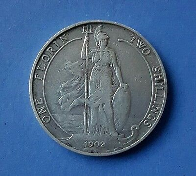 British 1902 Silver Florin, Two Shilling Coin (.925). Good condition.