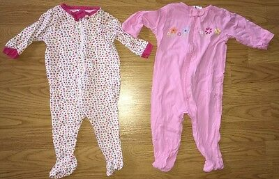 Baby Girl Clothes 3-6 Months Lot Of 2 Footed Pajamas Sleepwear Zippered